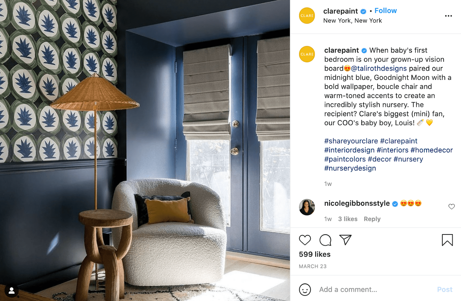Clare paint's Instagram caption, demonstrating the brand's chic, professional brand voice.