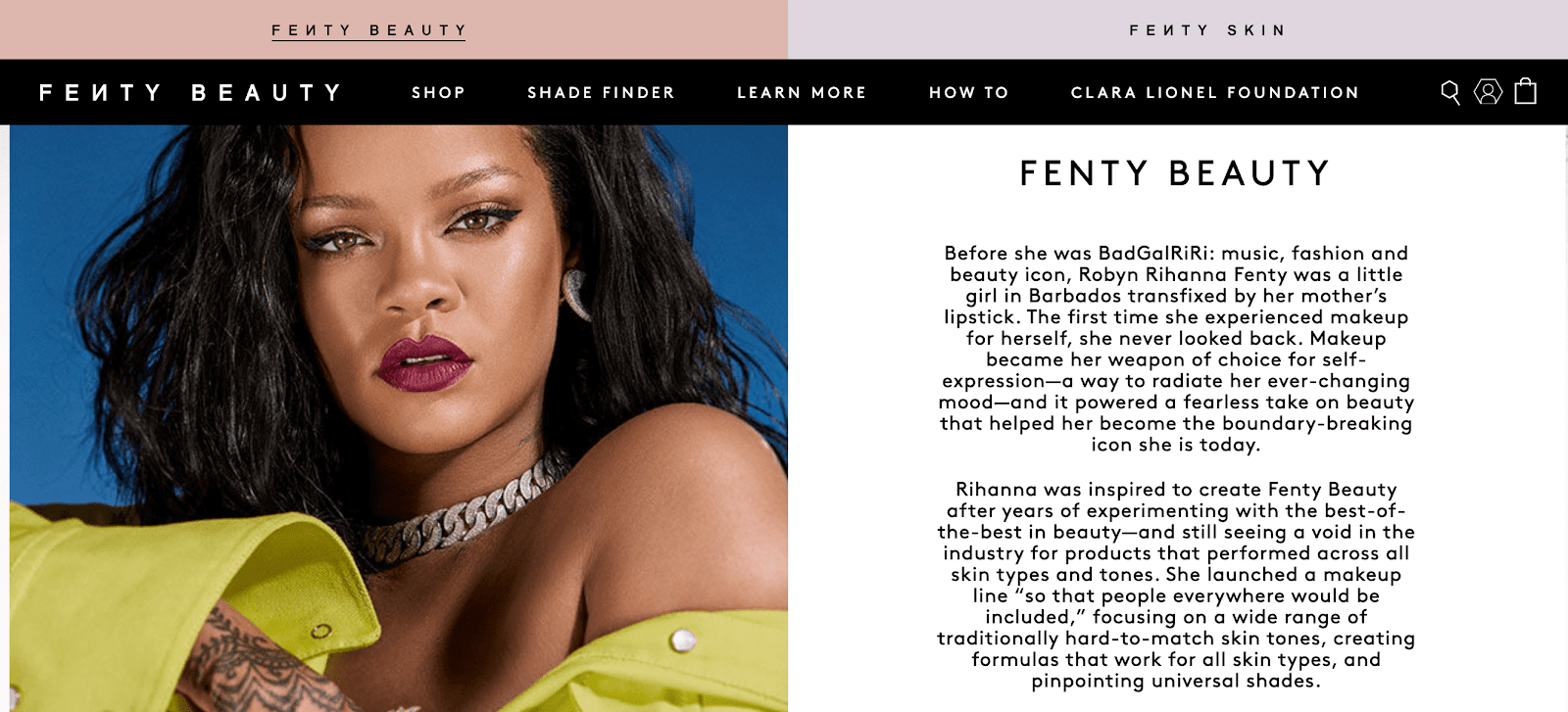 Fenty Beauty's About Us page, showcasing a playful, witty brand voice.