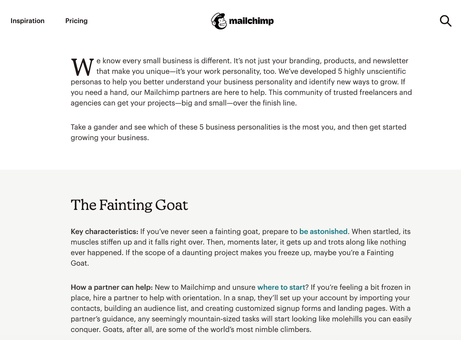 Mailchimp's blog post, highlighting brand voice.
