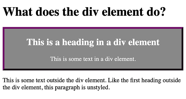 Styled div demo with gray background and purple border