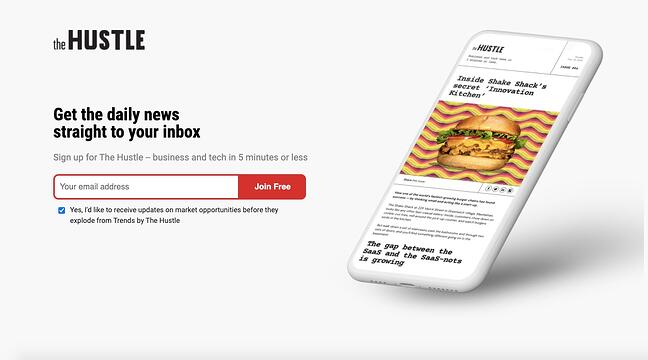 The Hustle's homepage applies Hick's Law and only presents users with three options