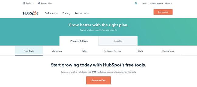 HubSpot's tabbed pricing pages demonstrate Hick's Law in action