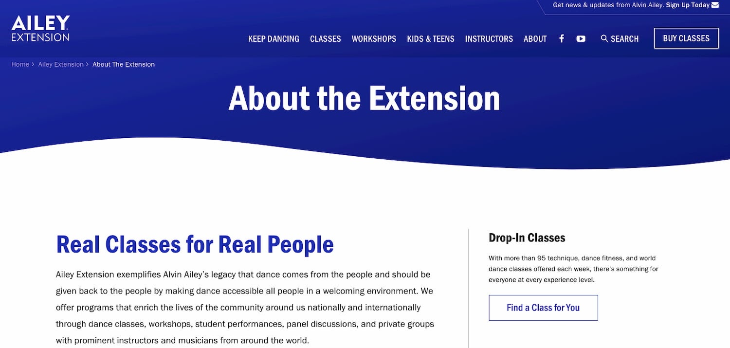 Ailey Extension's website navigation system follows IA principle of multiple classification