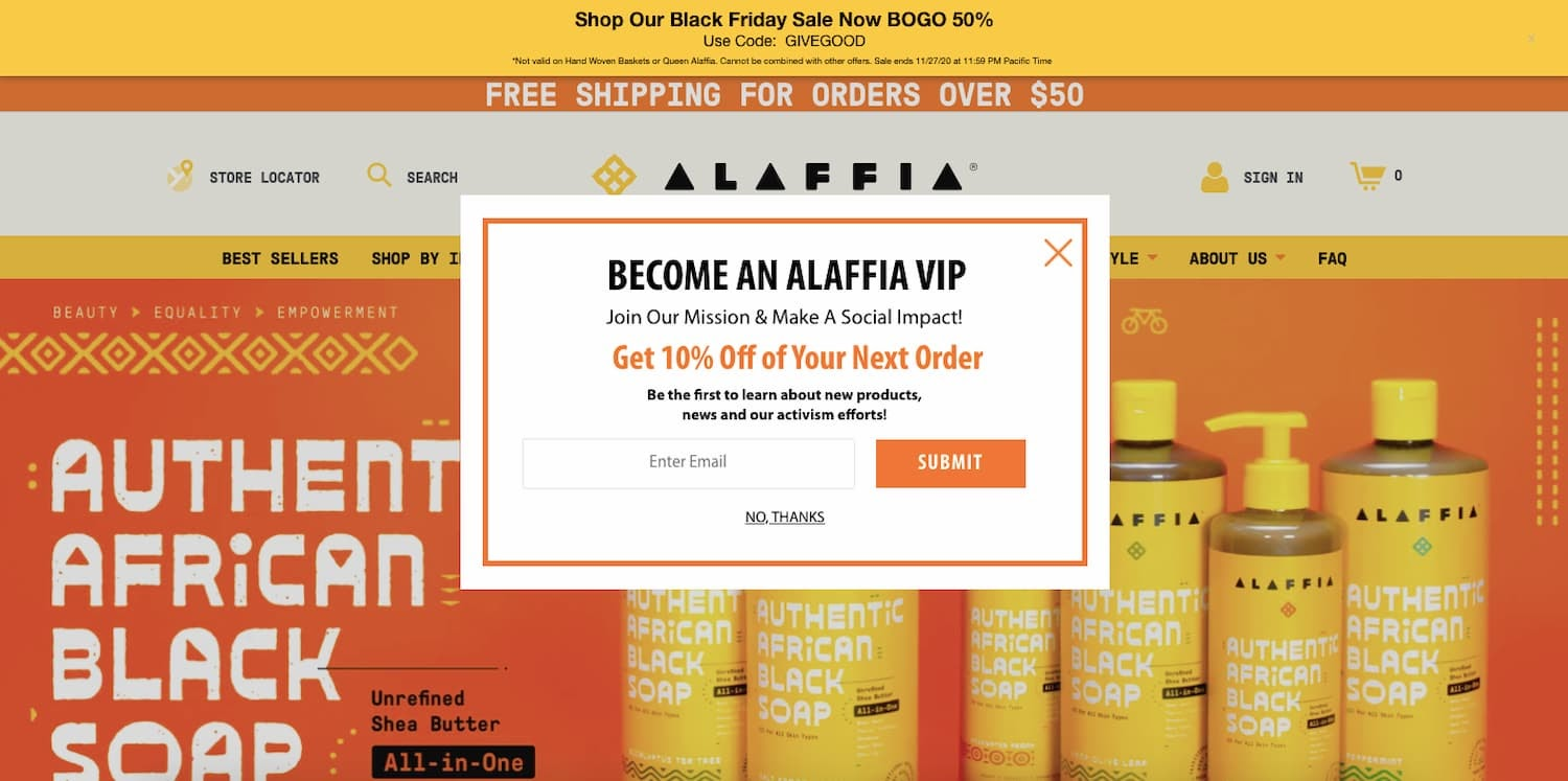Alaffia's email opt-in form follows the IA principle of choices