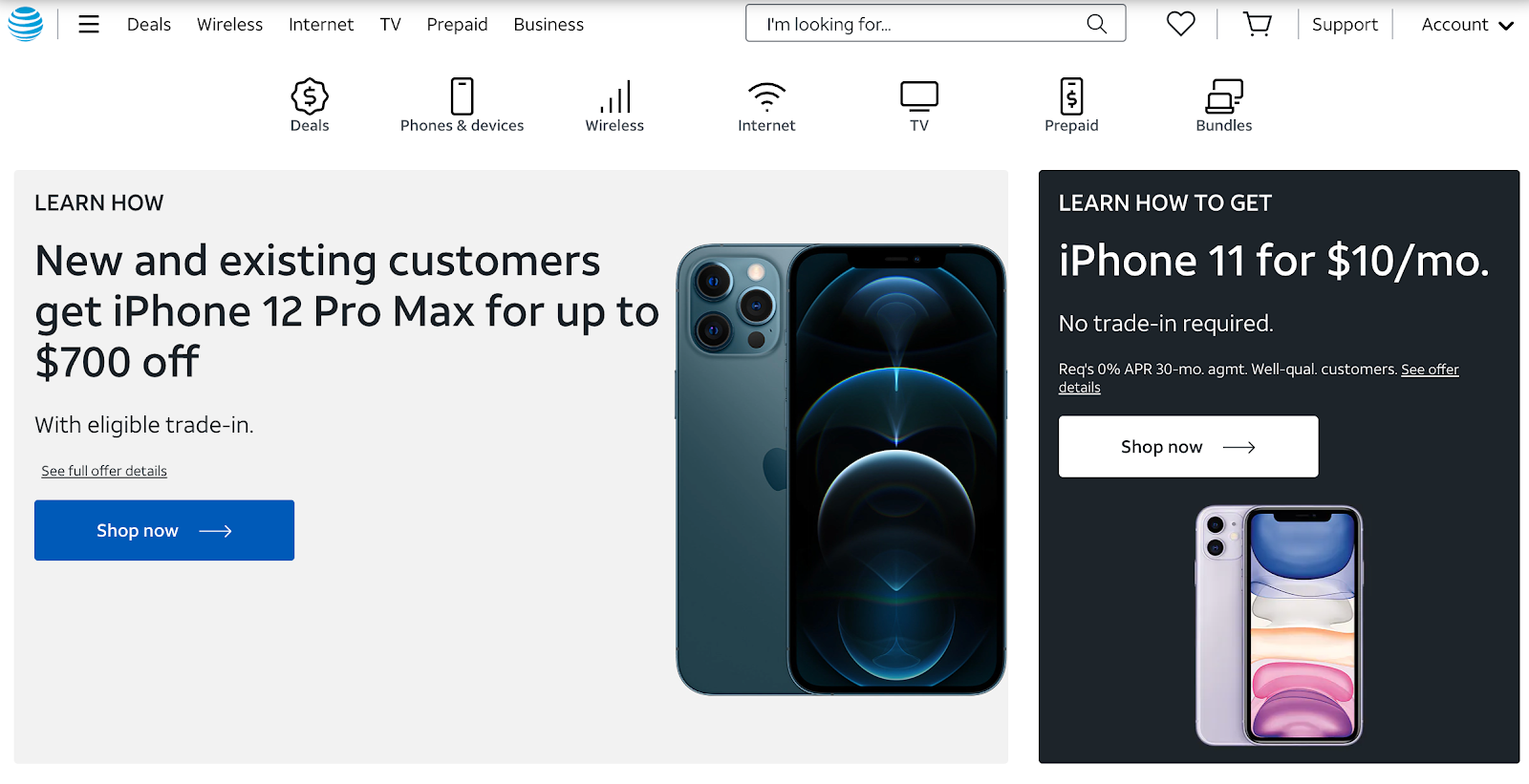 AT&T website home page for the sale of the new iPhone