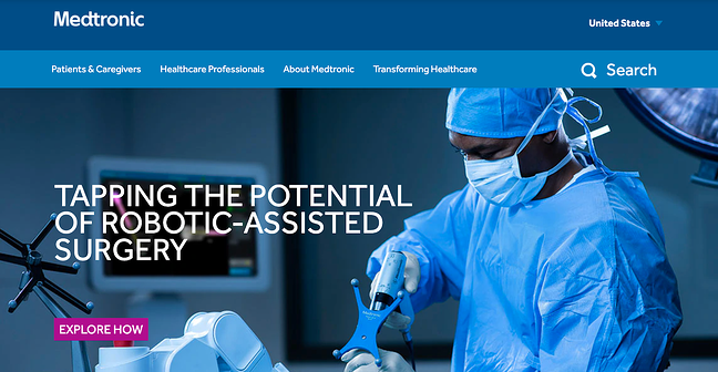 Medtronic medical sales website homepage featuring a surgeon
