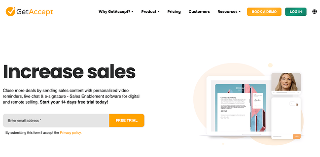 GetAccept Sales software homepage that advertises a free trial