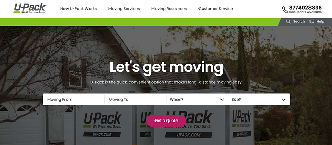 u-Pack B2C sales website homepage for customers to get a quote