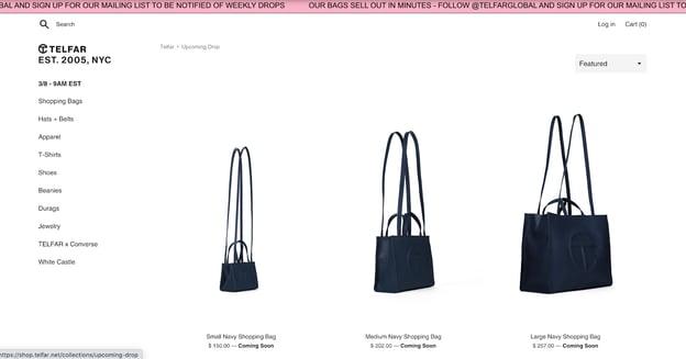Direct sales company Telfar website homepage showcasing their shopping bags