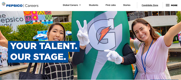 Account based sales at PepsiCo careers page featuring two woman with an oversize gatorade bottle
