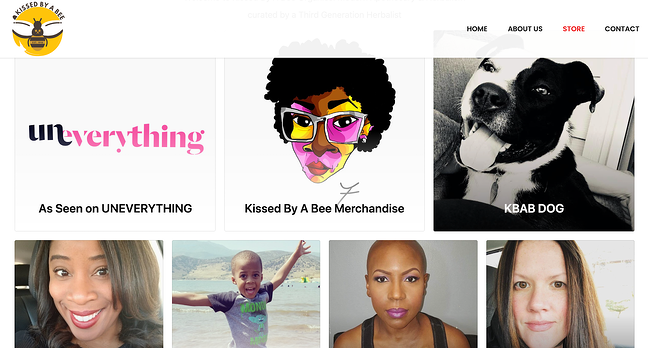 Kissed By A Bee eCommerce website featuring holistic products