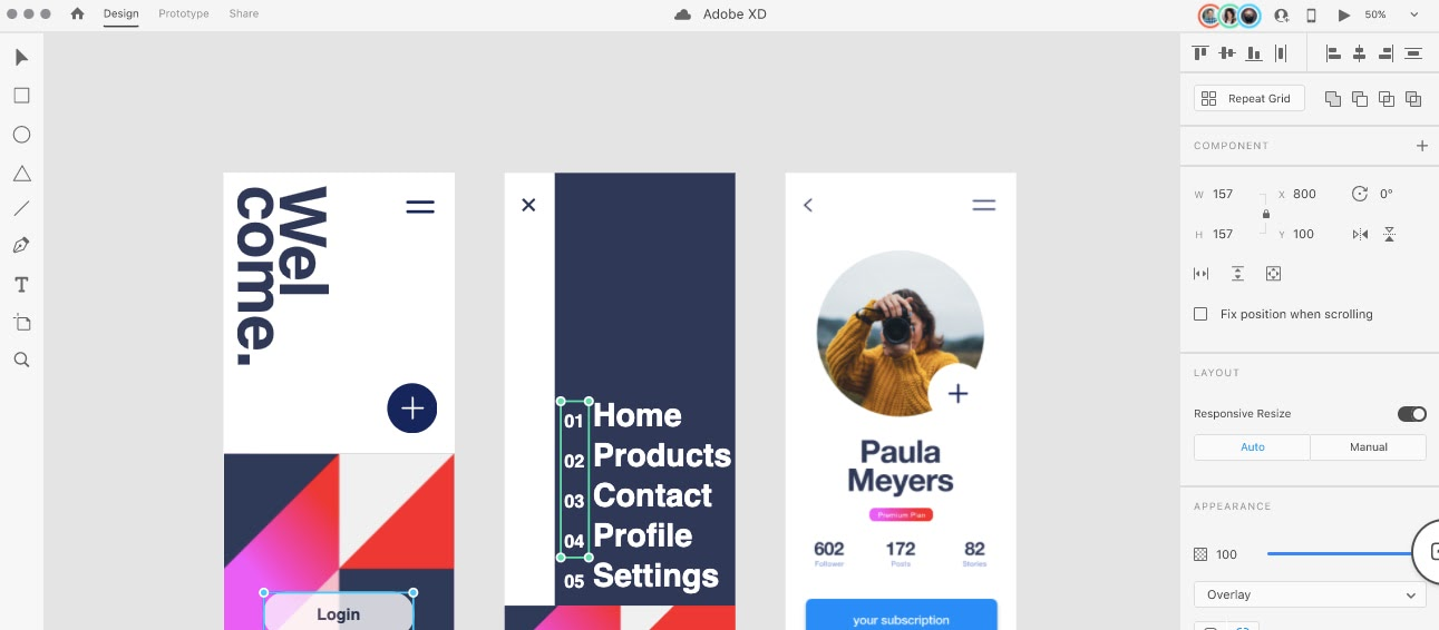 Creating a prototype with the UI design tool AdobeXD
