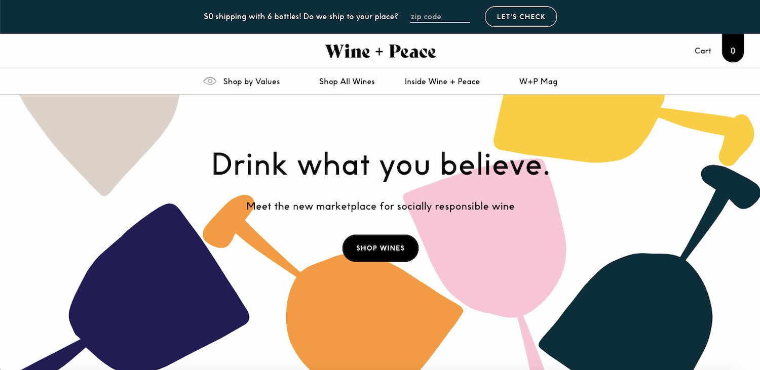 Wine + Peace website is one of the best UI design examples