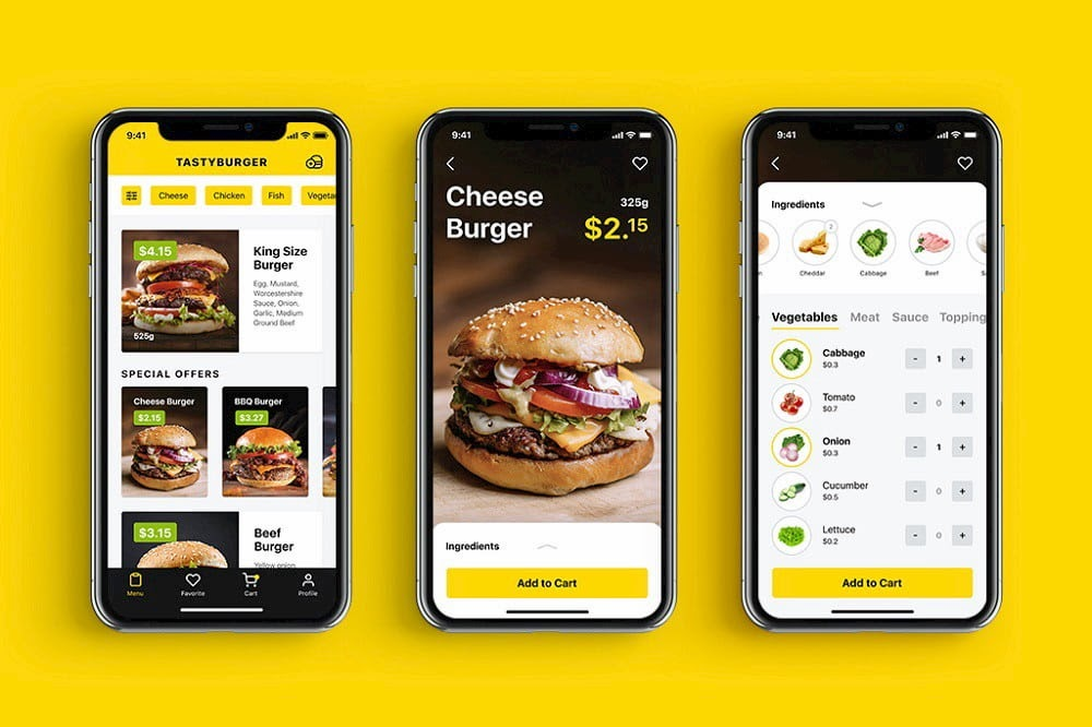 Tasty Burger app Spain Collection is one of the best UI design examples