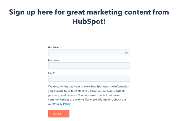 Example of a HubSpot Newsletter landing page
