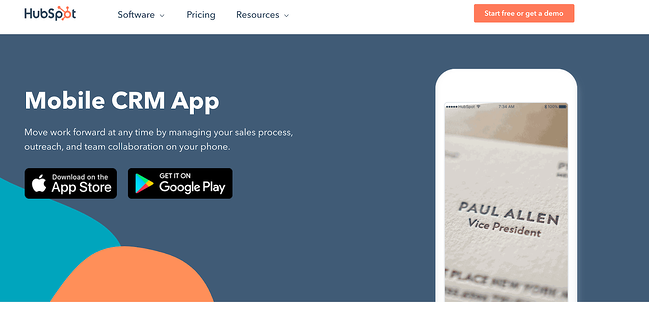 App download landing page example featuring hubspot's app landing page