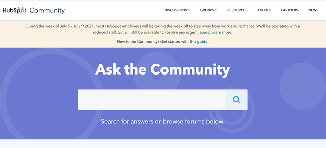 Community membership landing page example featuring HubSpot's community page