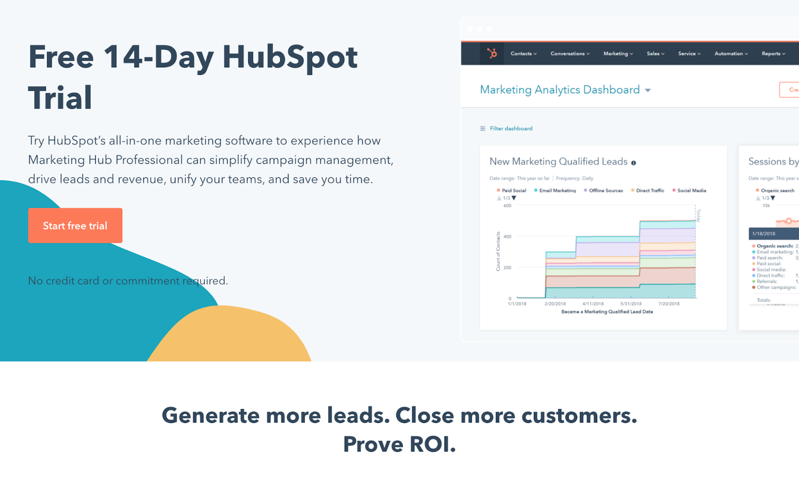 Free trial landing page example hubspot's 14-day free trial