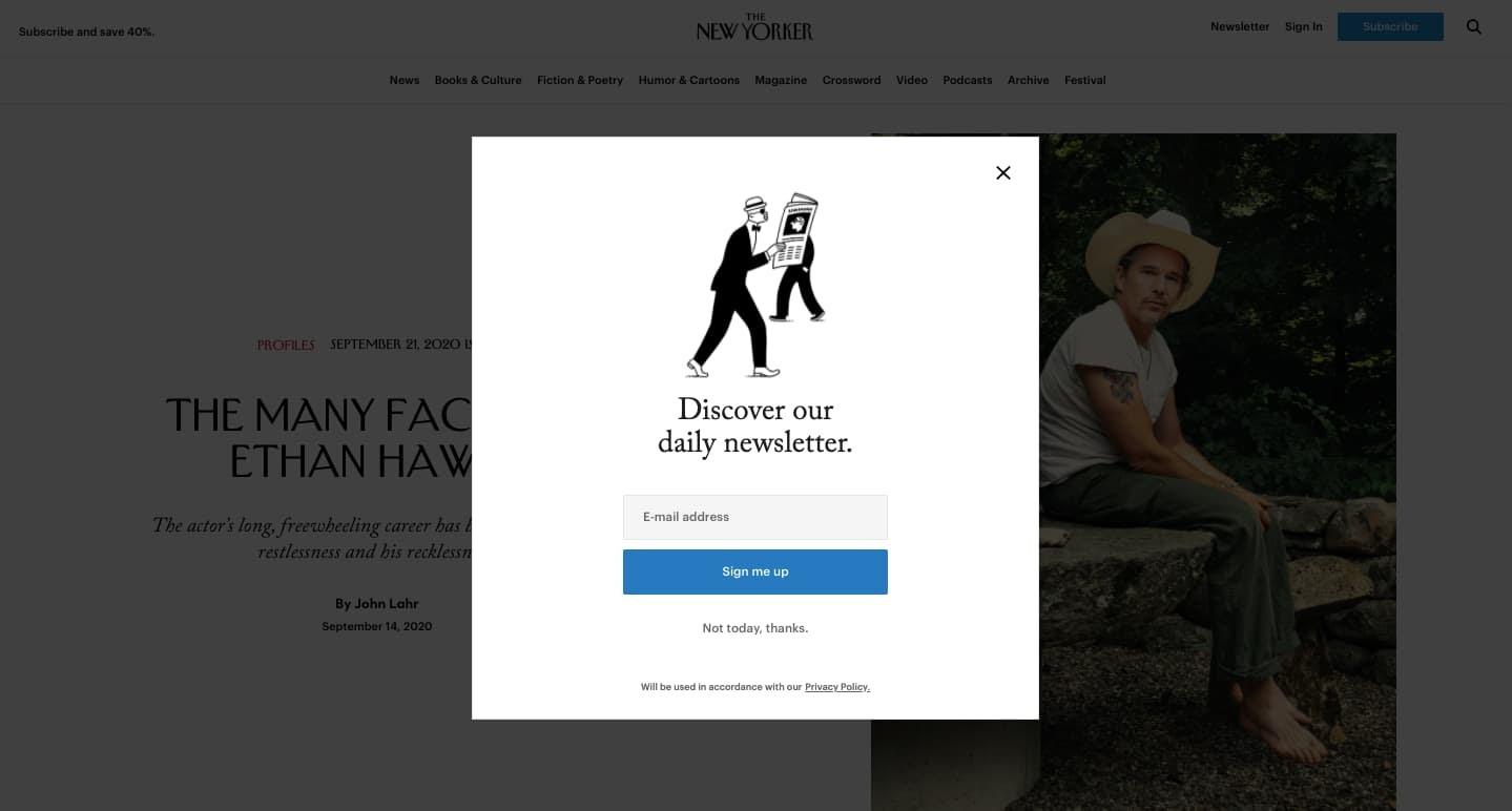 modal window on the new yorker website