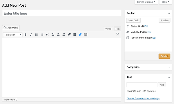 Adding a new post in TinyMCE editor in earlier version of WordPress