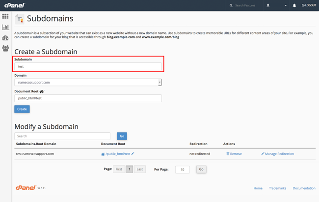 Navigate to and enter your subdomain name in your cpanel