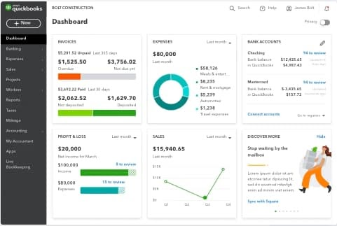 Quickbooks accounting software dashboard