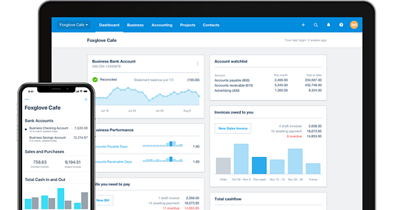 Xero accounting software dashboard