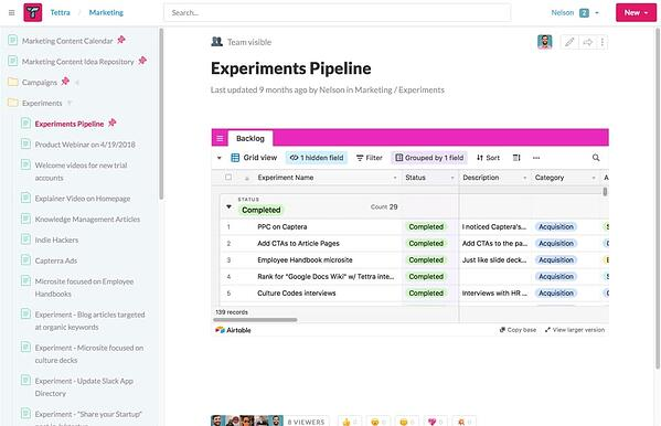 Tettra wiki architecture marketing > experiments