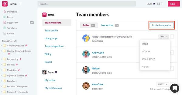 Invite team members button outlined in red in Tettra