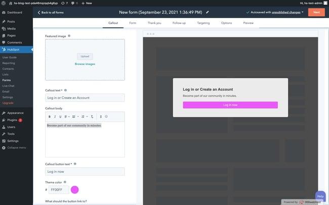 WordPress login popup: customize callout of login popup form