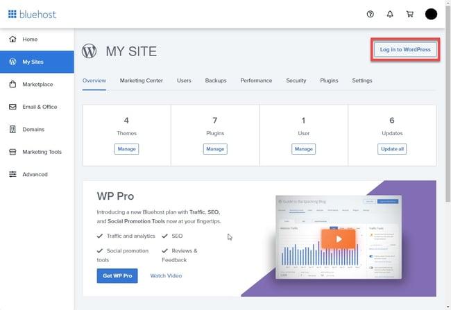 Bluehost WordPress login