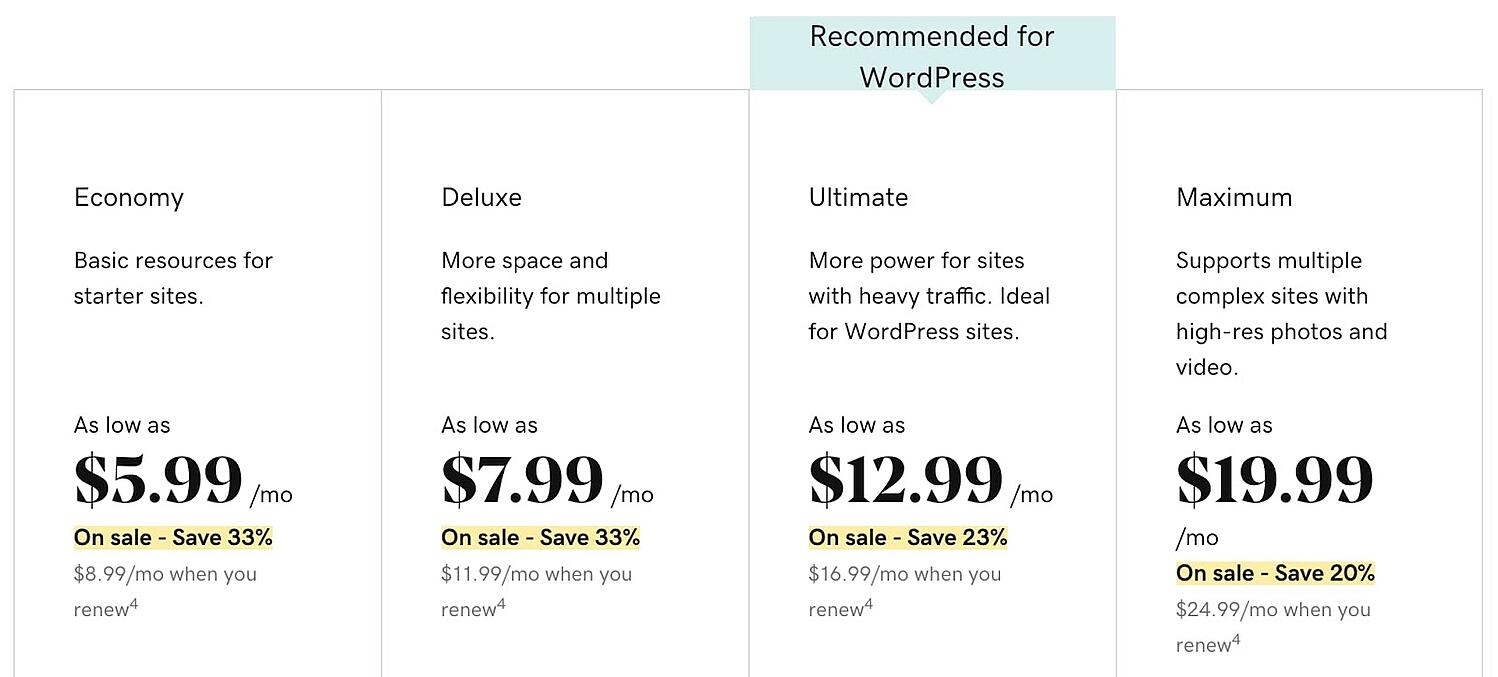 GoDaddy hosting plans pricing page
