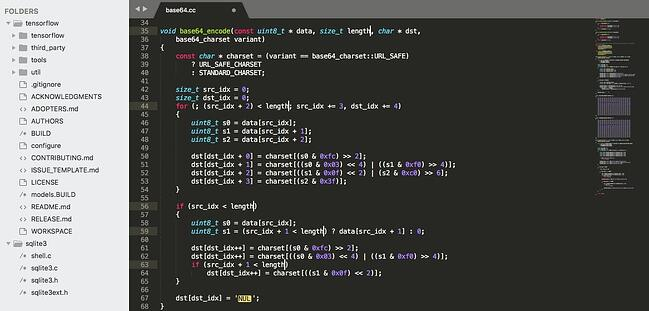 interface for the html and css code editor sublime text
