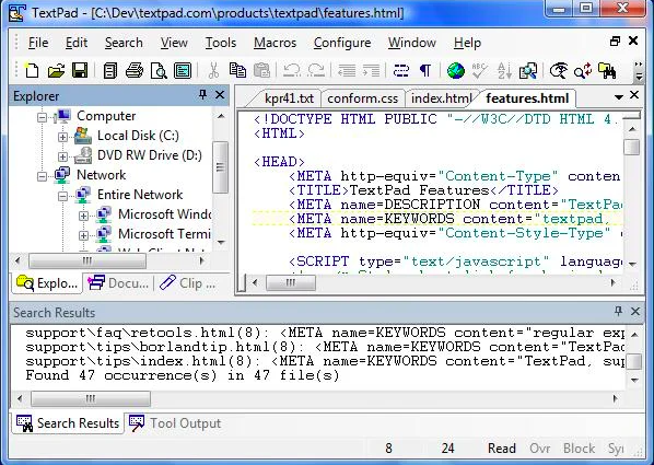 Searching text in TextPad, one of the best HTML editors