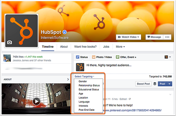hubspot facebook page audience targeting demo