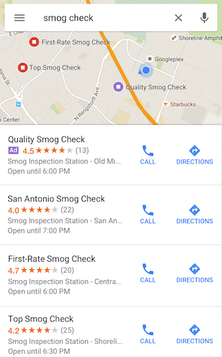 Example of Google Maps Marketing business ads in search results