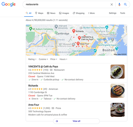 Example of a local 3-pack from Google Maps for restaurant queries