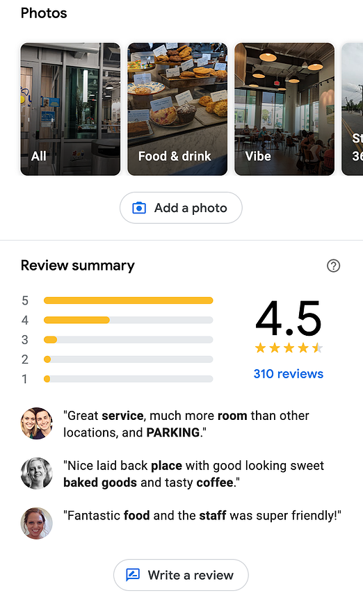 Example google maps business profile reviews and photos