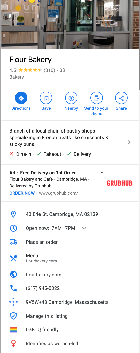 Example of an optimized Google Maps marketing profile for a restaurant