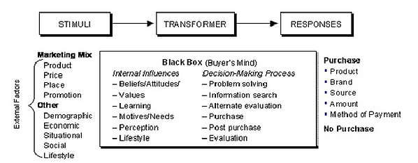diagram of black box behavior model displaying the consumer decision process