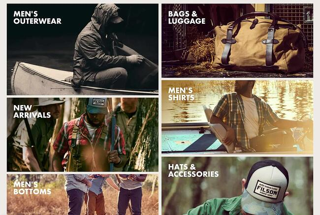 the filson outerwear website homepage featuring a grid layout of image links