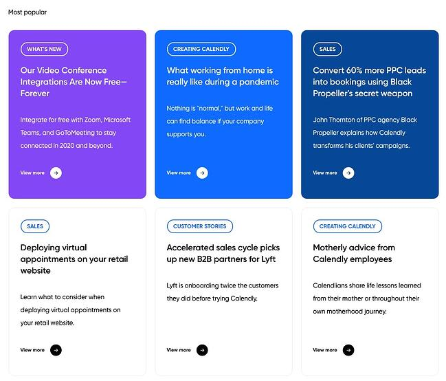 the colendly blog homepage with a css grid layout