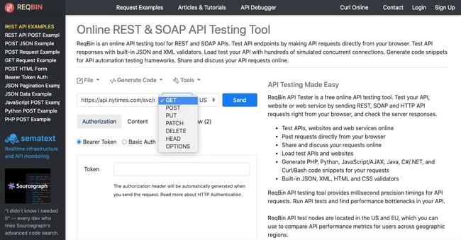 test api calls: select GET method