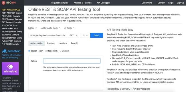 test api calls: enter authorization credentials