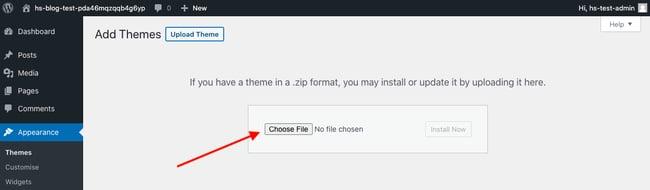Click Choose File to upload Divi child theme