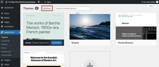 Click Add New to begin installing Divi child theme