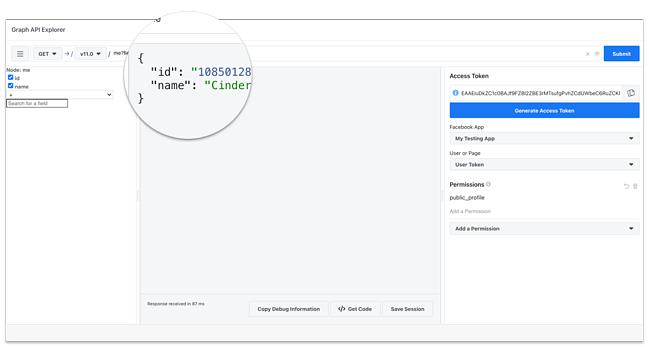 how to use facebook api: submit HTTP request