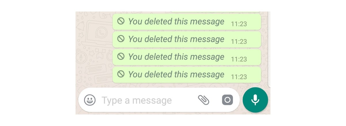 """You deleted this message"" repeated four times in WhatsAPP"