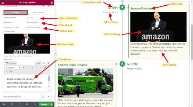 Timeline of Amazon's history creating using Elementor Timeline Widget addon