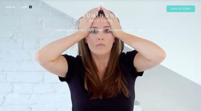 fitness website example: Luminous Face Yoga